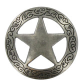 "1 1/2"" Engraved Star Concho"
